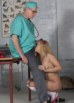 Horny old doctor shagging a willing naked patient hardcore