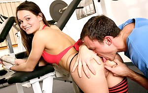 Brunette teenage sweetheart gets her ass stuffed in the gym