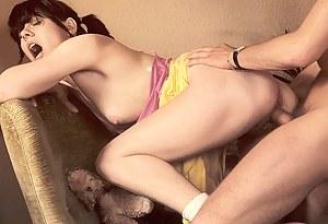 Retro schoolgirl loves stiff cock inside her tight twat