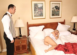 This ravishing Russian blonde is no slouch, she was probably just pretending to be sleeping. Watch her take a big cock up her ass.