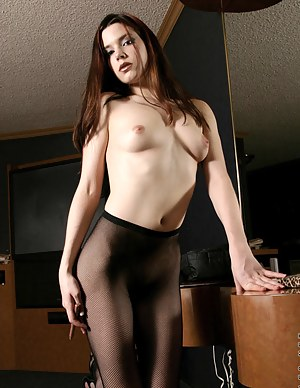 Sexy ravons perfect body is in lingeie and sheer black stockings so fucking hot