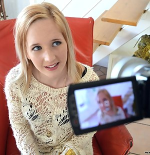 Naughty blonde chick Alica lets Jim Slips film her stripping